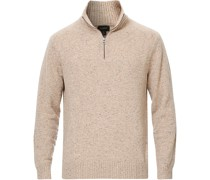 Merino/Nylon Half Zip Natural Donegal