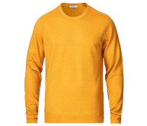 Garment Dyed Rundhalspullover Yellow