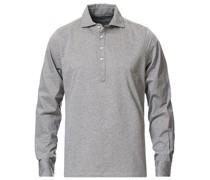 Baumwoll Popover Polohemd Grey Melange