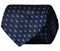 Silk Geometrical Pattern 8 cm Krawatte Navy