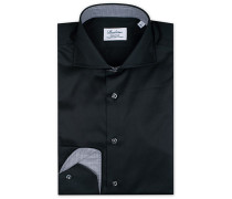 Fitted Body Contrast Hemd Black