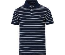 Slim Fit Stretch Mesh Stripe Polo White/Navy