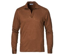 Washed Leinen Longsleeve Polo Gold Brown