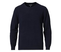 Cashmere Blend Needle Stitched Pullover Navy