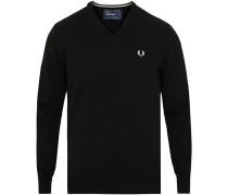 Merino Woll Pullover mit V-Ausschnitt Black