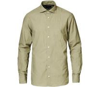 Slim Fit Baumwoll/Leinen Cut Away Hemd Green