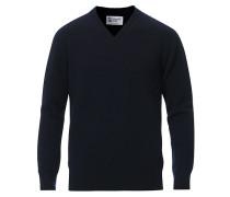Stricked Woll/Cashmere V-Neck Dark Navy