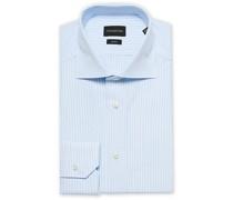 Slim Fit Streifenkleid Hemd Light Blue