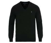 Pima Baumwoll V-neck Pullover Polo Black