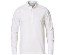 Baumwoll Popover Polohemd White
