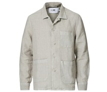 Robbie Leinen Überhemd Light Grey