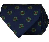 Printed Silk Madder Flower 8 cm Krawatte Navy