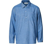 Military Baumwoll/Woll Popover Hemd Blue