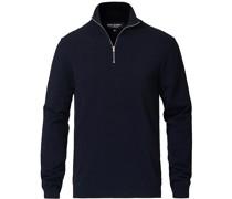 Longsleeve Baumwoll/Silk Striped Polo Navy