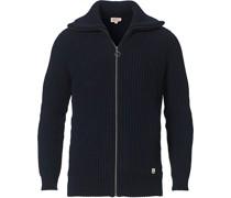 Strick Zip Pullover Navy