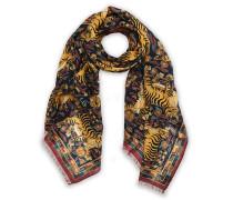 Woll/Silk Printed Jumbo Tiger Halstuch / Schal Navy