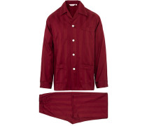 Baumwoll Satin Striped Pyjamaset Wine Red