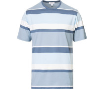 Striped Rundhals Baumwoll Tshirt Blue
