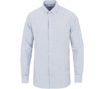 Levon Buttondown Stripe Oxfordhemd White/Blue