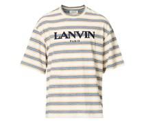 gestreift Embroidered Kurzarm Tshirt Beige