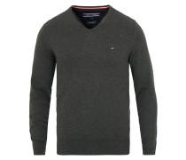 Baumwoll/Silk Pullover mit V-Ausschnitt Charcoal Heather