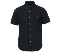 Slim Fit Kurzarm Oxfordhemd Polo Black