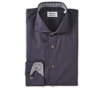 Fitted Body Contrast Hemd Navy