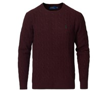 Woll/Cashmere Cable Pullover Wine Heather