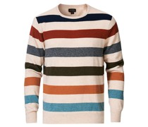 Cashmere Stripe Crew Heather Natural