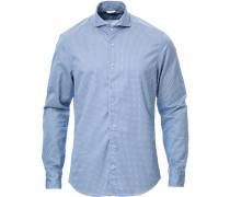 Slimline Washed Printed Cut Away Hemd Blue