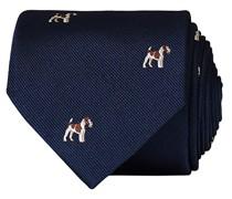 Silk Reppe Woven Dogs 8 cm Krawatte Navy