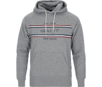 Stripe Sweat Hoodie Grey Melange