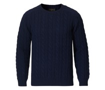 Rundhals Cable Pullover Navy