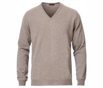Merino V- Neck Pullover Mud Brown