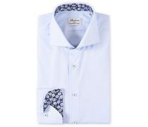Slimline Contrast Hemd Light Blue