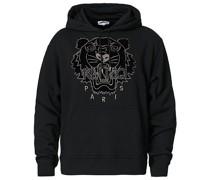 Velvet Tiger Head Hoodie Black