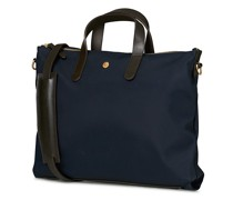M/S Canvas Slim Aktentasche Navy/Dark Brown