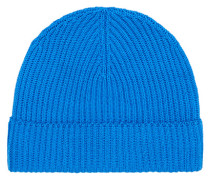 Cashmere Strick Hut/Mütze China Blue