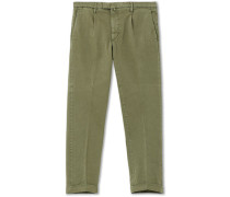 Easy Fit Pleated Baumwoll Chinohose Green
