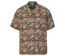 Open Collar Floral Block Printhemd Navy/Red