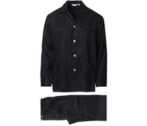 Striped Silk Pyjamaset Black