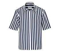 Idi Stripe Zip Kurzarm Hemd White/Navy