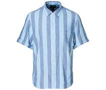Striped Leinenhemd Deep Ultramarine Multi