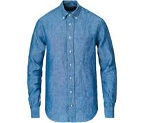 Buttondown Chambray Leinenhemd Blue