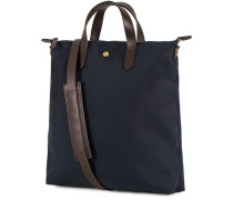M/S Nylon Shopper Navy/Dark Brown