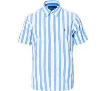 Custom Fit Stripe Kurzarm Hemd Blue/White