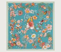 Seidentuch Printmotiv Blumen und Buchstaben