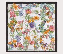 Seidentuch mit Blumen Print und Schriftzug
