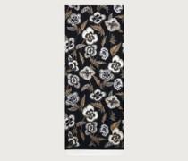 Poppy printed silk scarf