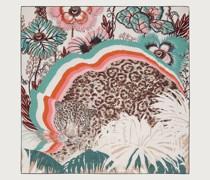 Jaguar print silk scarf